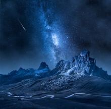 Milky Way Over Passo Giau, Dolomites. Mountain Hiking At Night.