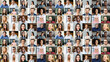 canvas print picture Video conference concept. Banner, screensaver, collage with a lot of diverse people, multiracial colleagues brainstorming on the distance, a lot of people different generation and nation. Hr database