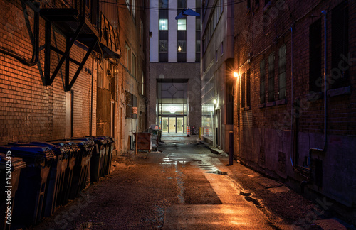 Fotografering Empty alleyway at night