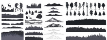 Forest Silhouette, Vector Illustration. People Camping, Adventure And Travel Concept, Beautiful Forest, Mountain And Sky, Exposure, Vector Illustration.
