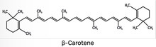 Beta Carotene, Provitamin A, Is An Organic Red-orange Pigment In Plants And Fruits. Skeletal Chemical Formula