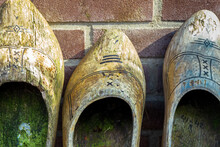 Netherlands Wooden Shoes, Clogs, Against Brick Wall