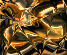 Abstract Mix Of Golden Colors. Liquid Plasticine Texture Like Broken Mirror In Brown, Gray, Golden And Yellow Hues. Great As Backdrop Or Design Element, Texture Or Pattern. Contemporary Fluid Art.