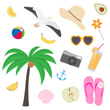 Summer Seaside Beach Collection With Isolated Vector Objects - Palm, Camera, Cocktail, Seagull, Anchor, Slipper, Hat, Ball, Avocado, Sunglasses, Etc.