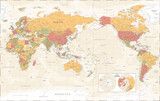 World Map - Pacific China Asia View - The Poles - Vintage Physical Topographic - Vector Detailed Illustration