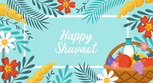 Fototapeta Jewish holiday shavuot banner design with fruits, wheat and milk in basket. Greeting card template background. obraz