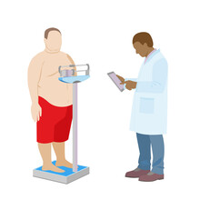 Black Doctor Weighs A Fat Man. Obese Patient Examination By A Doctor. Weight Control On Medical Scales. Stock Vector Illustration.