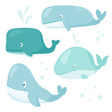 Vector Cartoon Set Illustrations Of Whales Of Different Shapes And Sizes. Cute Collection Heroes Of The Seas And Oceans For Children Books And Decorations.
