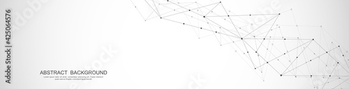 Papel de parede Website header or banner design with abstract polygonal background and connecting dots and lines