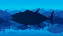 Vector Illustration Of Bluefin Tuna Seamless Pattern.