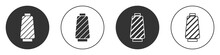 Black Sewing Thread On Spool Icon Isolated On White Background. Yarn Spool. Thread Bobbin. Circle Button. Vector
