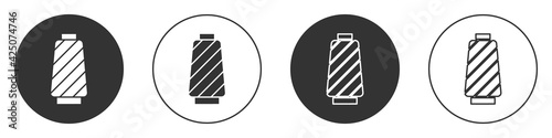 Wallpaper Mural Black Sewing thread on spool icon isolated on white background