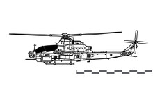 Bell AH-1Z Viper. Vector Drawing Of Attack Helicopter. Side View. Image For Illustration And Infographics.