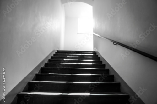 Canvas staircase going up to the light