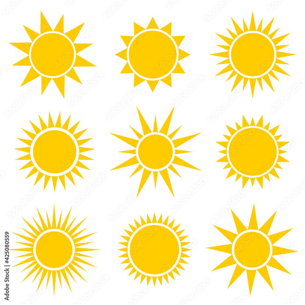 Fototapeta słońce zestaw ikon