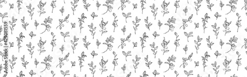 Billede på lærred Hand drawn blueberry branches with leaves and berries seamless pattern