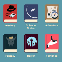 List Of Fiction Genres. Set Of Books With Themed Covers: Mystery, Science Fiction, Adventure, Fantasy, Horror, Romance.