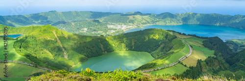 Fototapeta Panorama at Miradouro da Boca do Inferno overlooking the lakes of Sete Cidades,