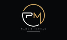 PM, MP, P, M Abstract Letters Logo Monogram