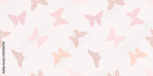 Fototapeta Butterfly silhouette seamless vector pattern background