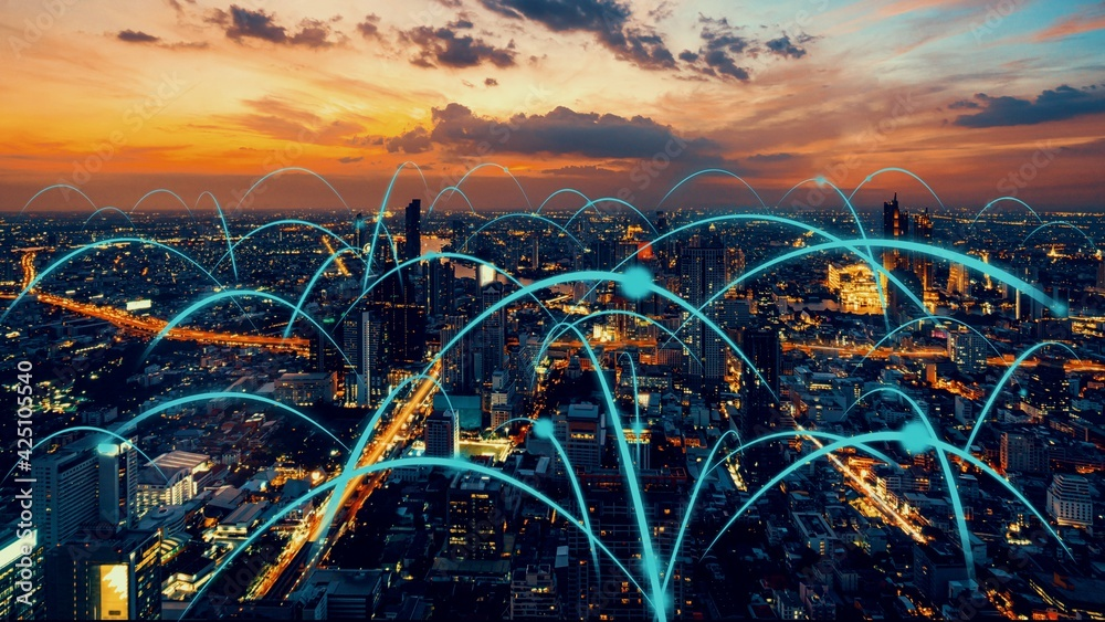 Fototapeta Smart digital city with globalization abstract graphic showing connection network . Concept of future 5G smart wireless digital city and social media networking systems .