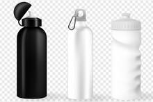 Water Bottle White, Silver And Black Empty Glossy Metal Reusable Water Bottle. Illustration Of Container Water For Sport Bike And Fitness. Vector Realistic 3d.