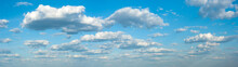 Panorama Of Clouds Against The Blue Sky. Background, Wallpaper. Gradient Transition From Dark To Light. Weather Forecast Screensaver, Website, Banner.