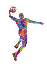 Basketball Player Watercolor Art, Abstract Painting. Sport Art Print, Watercolor Illustration Rainbow, Colorful, Decoration Wall Art.
