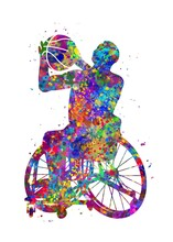 Wheelchair Basketball Watercolor Art, Abstract Painting. Sport Art Print, Watercolor Illustration Rainbow, Colorful, Decoration Wall Art.