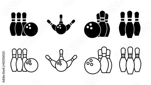 Vászonkép Bowling icon set. bowling ball and pin icon. bowling pins