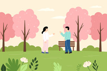 Man And Woman Who Meet And Talk In The Park.