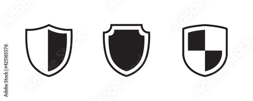Fotografie, Obraz Shield, protect, defend, safeguard, guard icon set