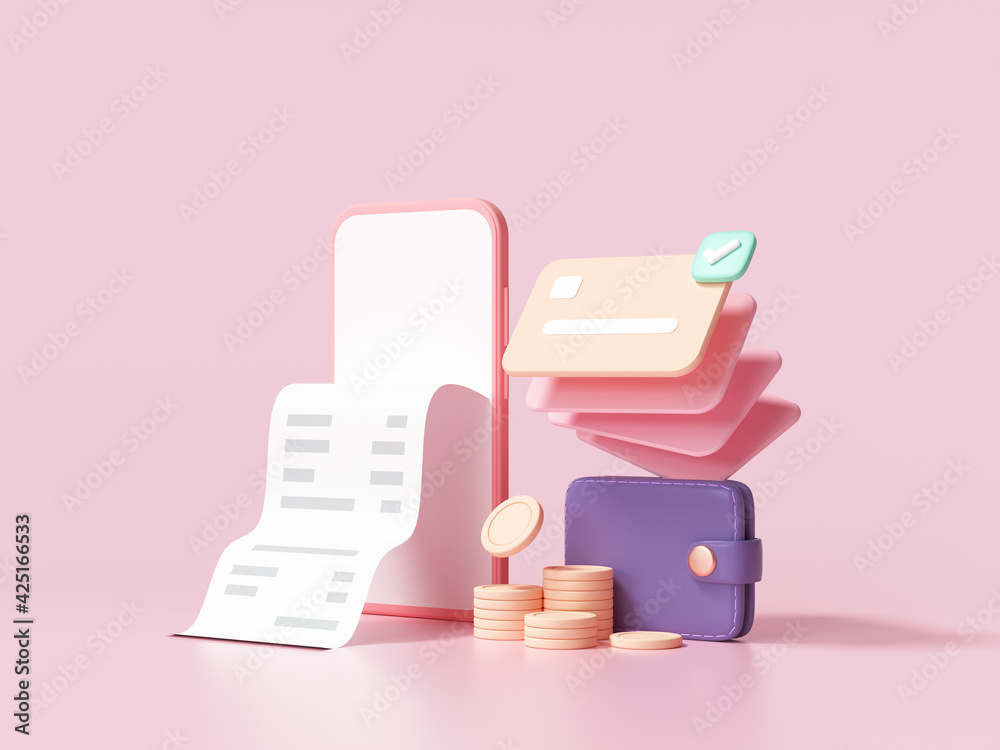 Fototapeta Cashless society, credit card, wallet and smartphone with a transaction on pink background. money-saving, online payment concept. 3d render illustration