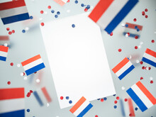 Netherlands King's Birthday, Liberation Day. Flags On A Foggy Background. The Concept Of Freedom, Patriotism And Memory. National Unity And Solidarity Day. Mockup