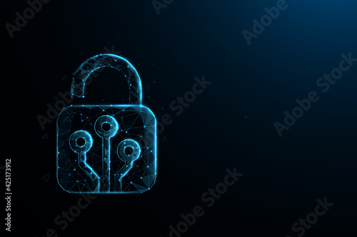 Obraz Technology cyber security concept. Lock symbol from lines and triangles, point connecting network on blue background. Illustration vector - fototapety do salonu