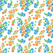 Bright seamless pattern flowers. A lot flowers on the field. Print for textile design and decoration. Watercolor