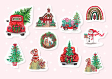 Watercolor Christmas Car And Christmas Tree Sticker, Planner