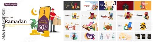 Fototapeta Special Ramadan illustrations. Mega set. Collection of scenes with Ramadan sale, Discount, Delivery, Cashback, Iftar party, Greeting card Ramadan Kareem, and Eid Mubarak,Trendy vector style obraz