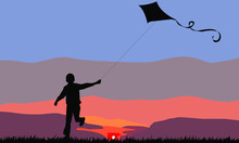 Running Boy With A Flying Kite
