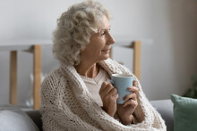 Happy Pensive Elderly Lady Wrapped In Scarf Enjoying Cup Of Hot Winter Drink At Cozy Comfortable Home. Senior Woman Holding Mug Of Tea, Coffee, Chocolate, Sitting On Sofa, Thinking, Looking Away