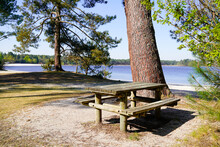 Picnic Area Wooden Table On The Water Lake Hostens Coast
