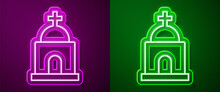 Glowing Neon Line Old Crypt Icon Isolated On Purple And Green Background. Cemetery Symbol. Ossuary Or Crypt For Burial Of Deceased. Vector