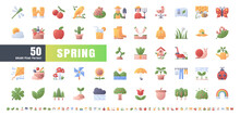 64x64 Pixel Perfect. Spring Season. Flat Gradient Color Icons Vector. For Website, Application, Printing, Document, Poster Design, Etc.