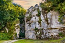 Cracow Gate - Brama Krakowska - Jurassic Limestone Rock Gate Formation In Pradnik Creek Valley Of Cracow-Czestochowa Upland In Ojcow In Lesser Poland