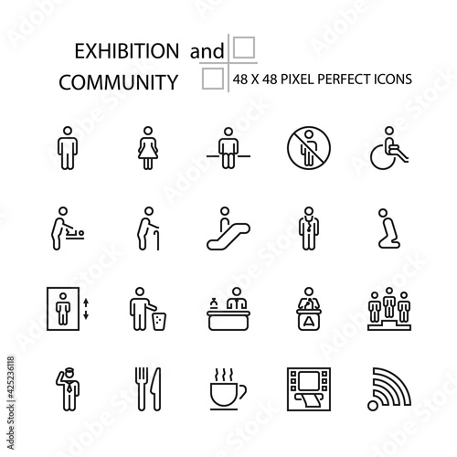 Tela EXHIBITION and COMMUNITY business education vector line 48x48 Pixel Perfect Icons, Editable Stroke
