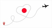 Airplane Flight Route With The Japan Flag Inside The Heart. Travel To Your Beloved Country. Vector Illustration.