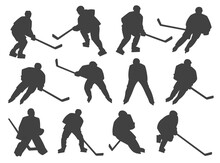 Ice Hockey Players, Goalie And Referee Silhouettes Set. Ice Hockey Player Skating With Stick, Team Forward Controlling And Hitting Puck, Goaltender In Protective Outfit And Referee Isolated Vectors
