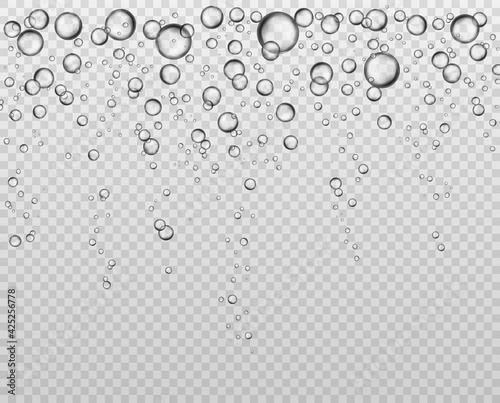 Fototapeta Bubbles at water surface. Fizzy underwater texture, soda bubble flow. Bubbling champagne air sparkles close up isolated vector set obraz