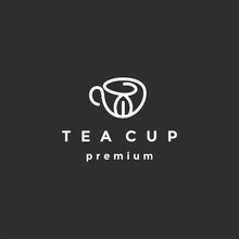 Tea Cup Logo In Flat Style. Vector Illustration On Black Background
