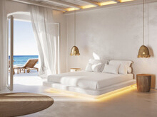 3d Mediterranean Greek Island Style Allwhite Bedroom With Unique Style And A View To The Aegean Sea